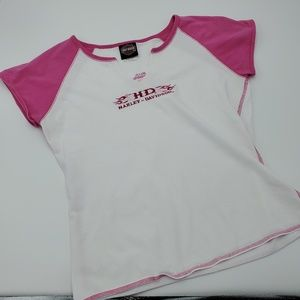 Harley Davidson White/Pink Ragland T-Shirt Cap Slv